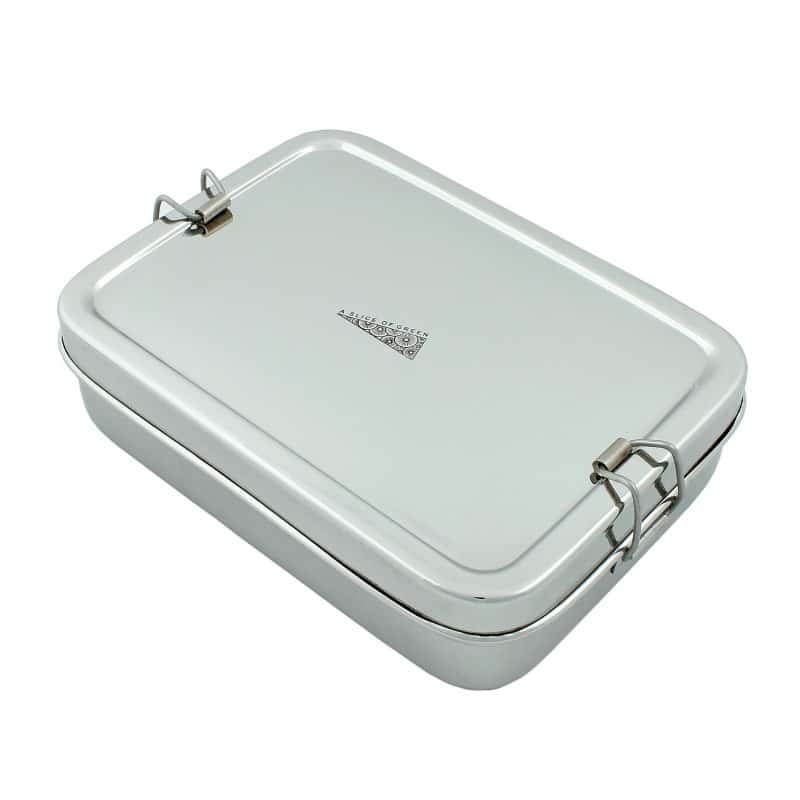 Large rectangle stainless steel lunch box with mini snack pot