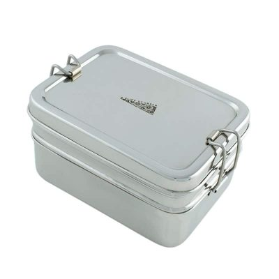 Two tier stainless steel bento box with mini container