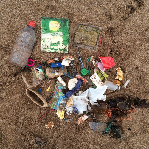 plastic washed up on the beach