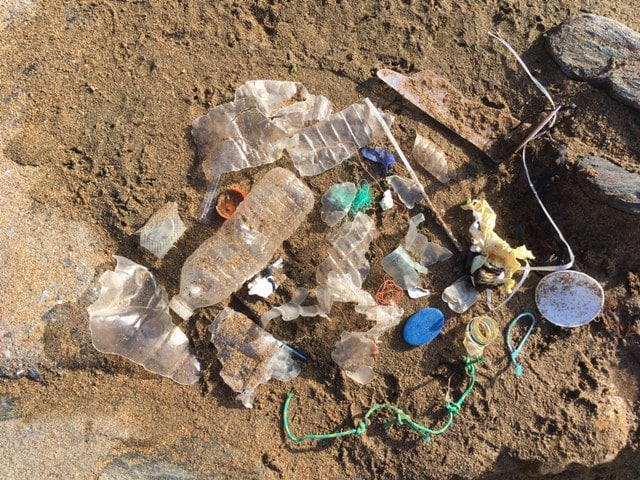 beach plastic at soar mill cove