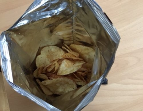 crisps in plastic packaging
