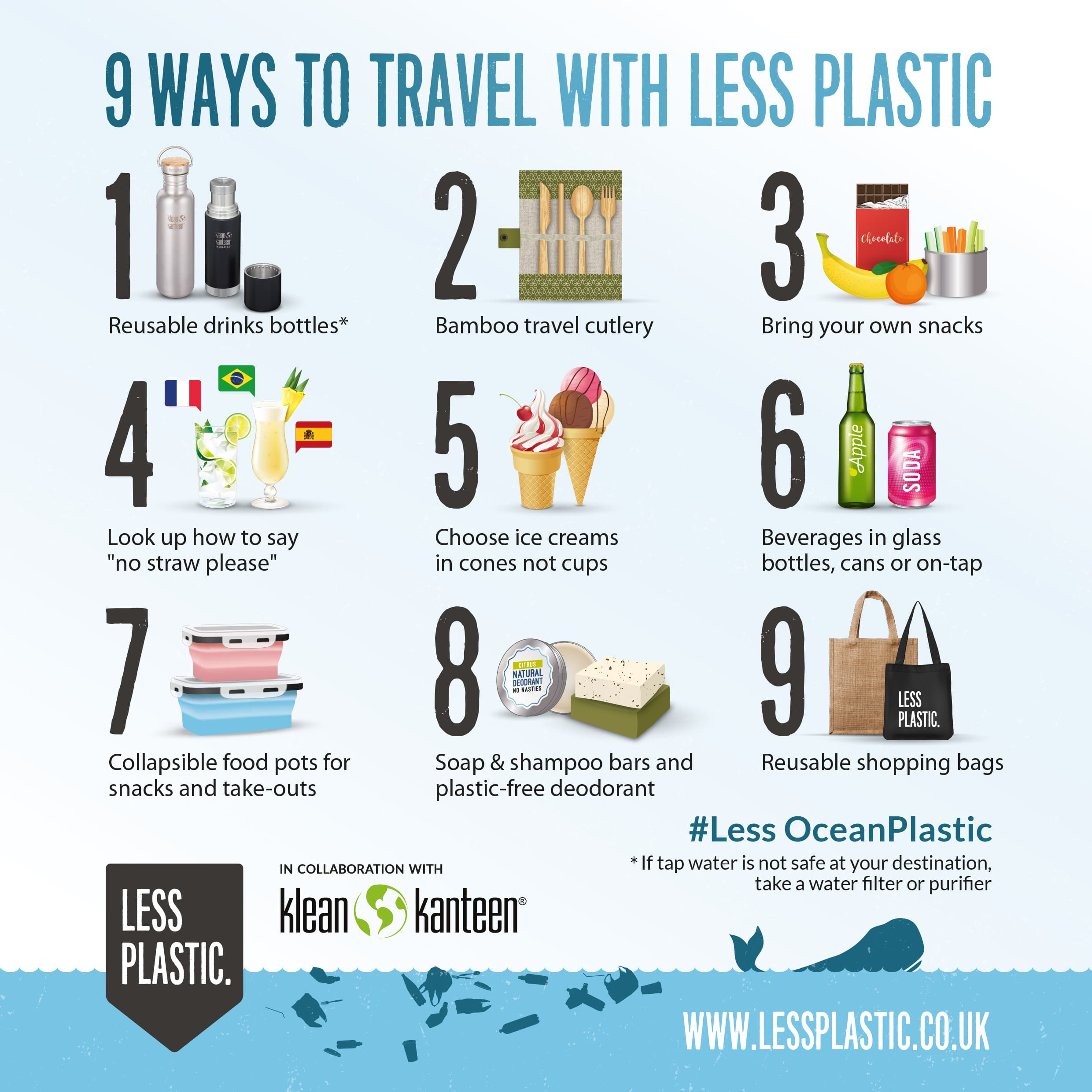 9 ways to travel with less plastic infographic
